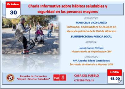 LA CASA DEL PUEBLO ACOGERÁ UNA CONFERENCIA SOBRE HÁBITOS SALUDABLES Y SEGURIDAD DIRIGIDA A PERSONAS MAYORES
